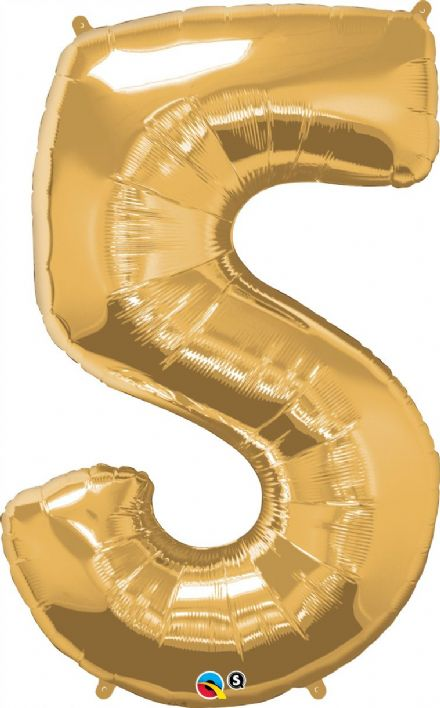 Number 5 Gold Super Shape Number Foil Balloon